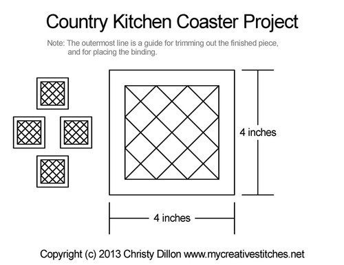 Country kitchen coaster free quilt project