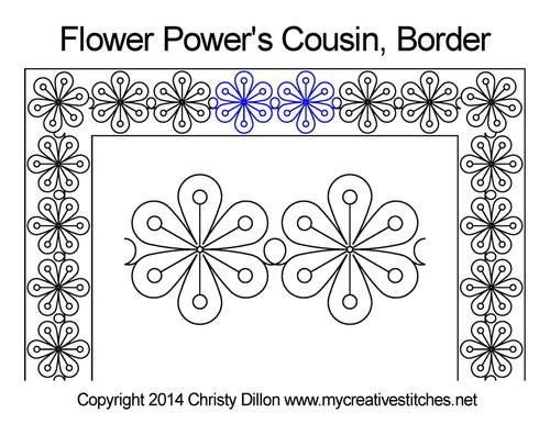 Flower power cousin border quilt design