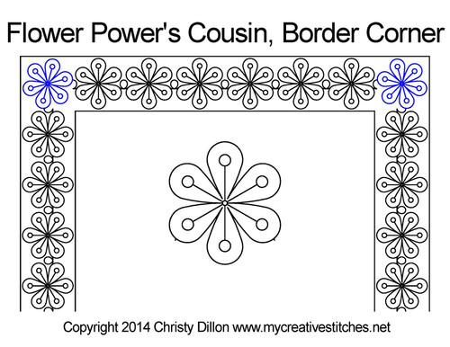 Flower power digitized border & corner quilt design