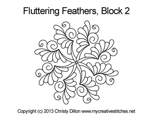 Fluttering feather triangle quilt design for block 2