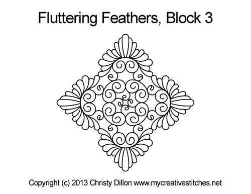 Fluttering feather triangle block 3 quilt design