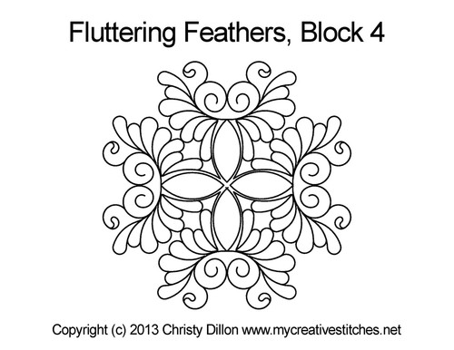 Fluttering feather triangle block 4 quilt design