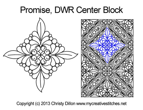Promise DWR center block quilting pattern