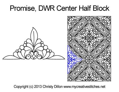 Promise DWR center half block quilt pattern