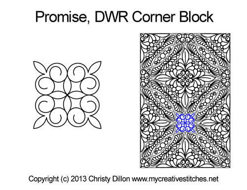 Promise DWR corner block quilting pattern