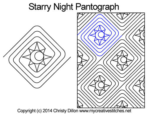 Starry night quilting pantographs patterns