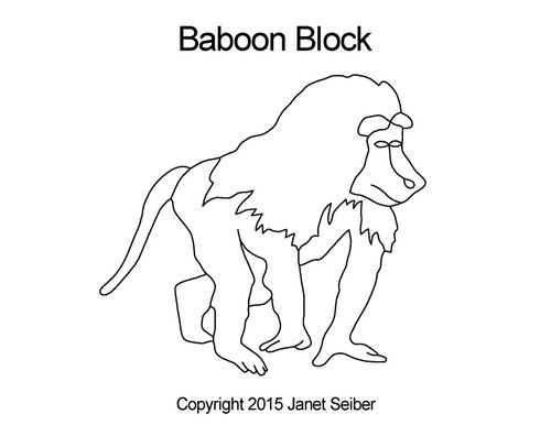 Baboon block digital quilt designs