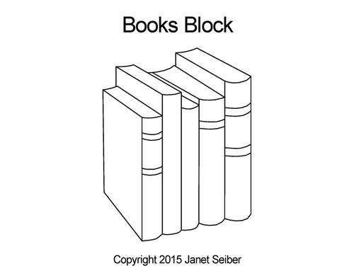 Books digital quilting design for block