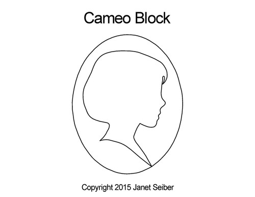 Cameo digital quilting pattern for block