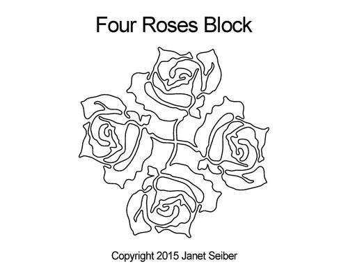 Four roses quilting designs for block