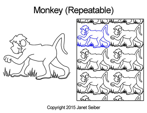 Monkey repeatable computerized quilting pattern