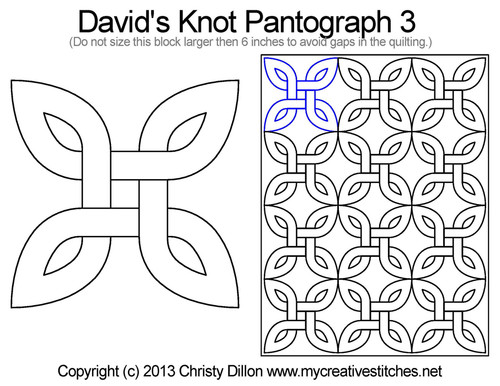 David's knot quilting pantographs 3 patterns