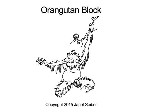 Orangutan quilting design for blocks