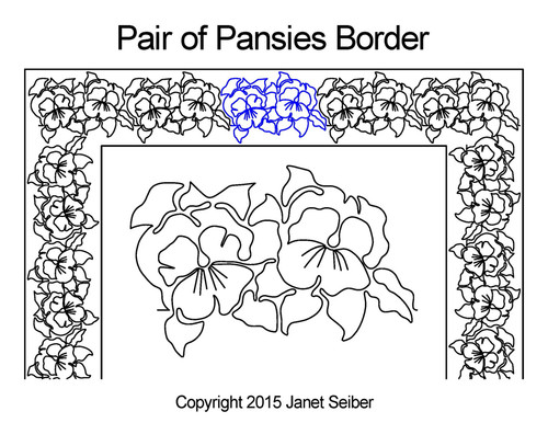 Pair of pansies border quilting designs