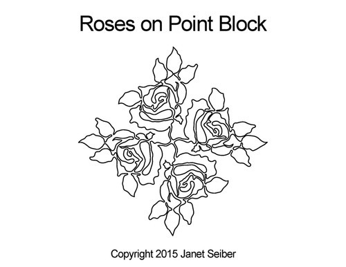 Rose on point block quilt designs