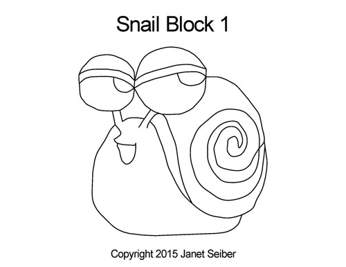 Snail digital quilting pattern for block