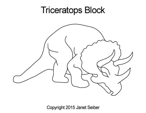 Triceratops quilting design for blocks