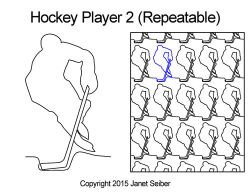 Hockey player 2 digitized repeatable quilting
