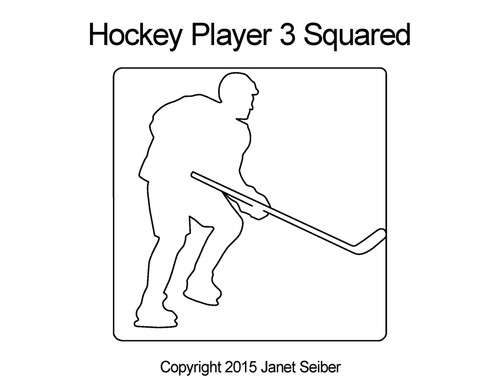 Hockey player 3 squared quilt designs