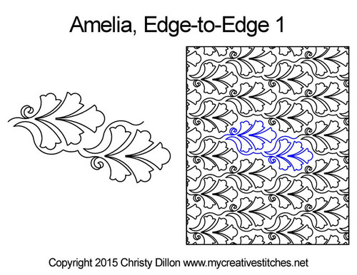 Amelia edge to edge 1 digital quilting patterns