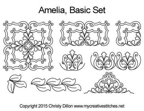 Amelia digitized quilting design set