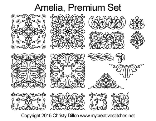 Amelia digitized premium quilting patterns set