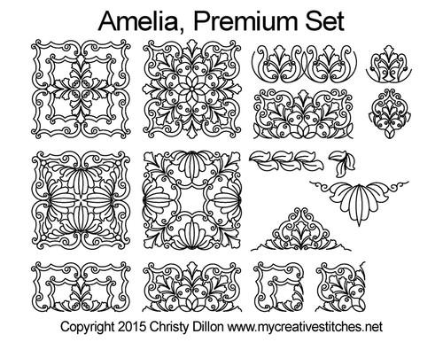 Amelia digitized premium quilting patterns set