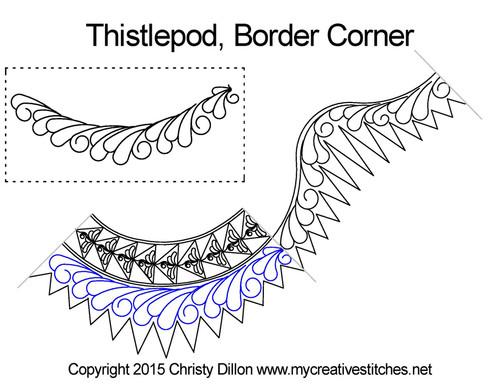 Thistlepod border corner quilting design