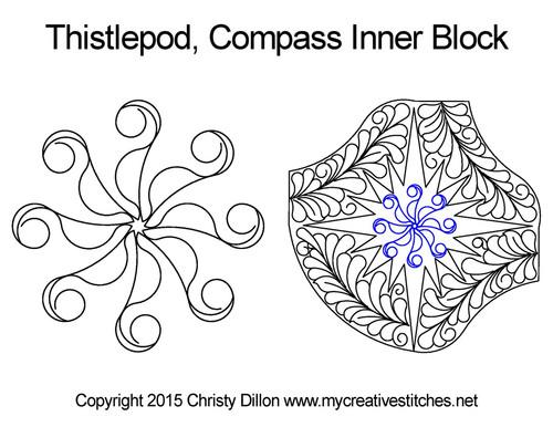 Thistlepod compass inner block quilting