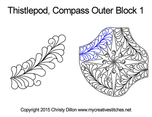 Thistlepod compass outer block 1 quilting