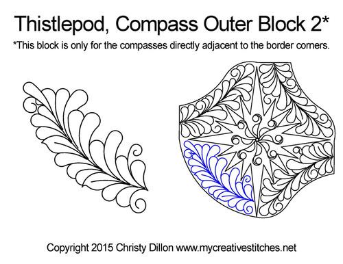 Thistlepod compass outer block 2 quilt pattern