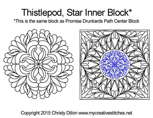 Thistlepod inner quilting design for star blocks