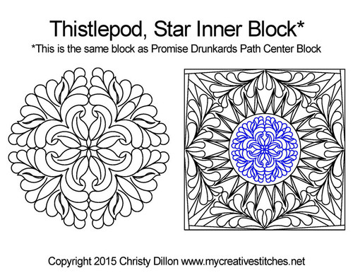 Thistlepod inner quilting design for star blocks