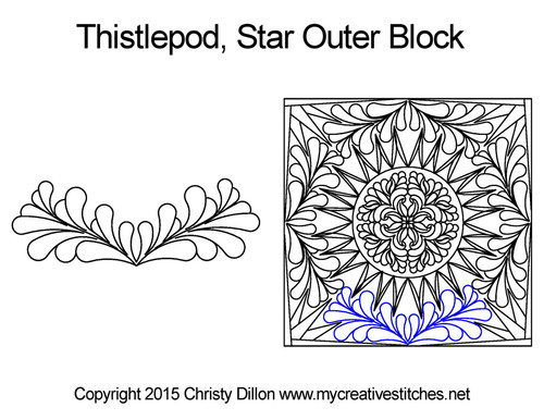 Thistlepod outer quilting design for star blocks