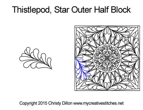 Thistlepod star outer half block quilt pattern