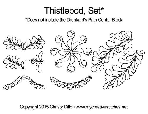 Thistlepod set digital quilting pattern