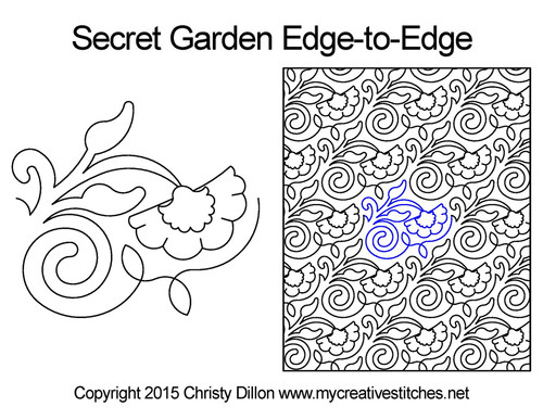Secret Garden edge-to-edge quilting design
