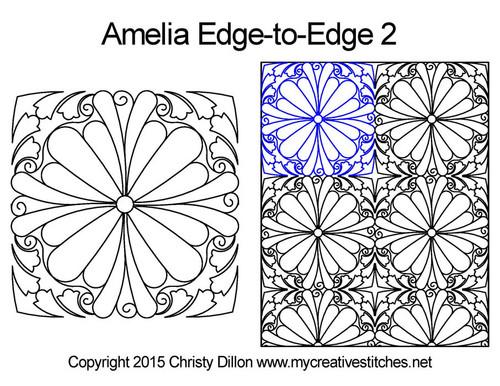 Amelia edge to edge 2 digital quilting patterns