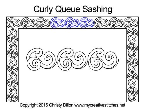 Curly queue sashing quilting