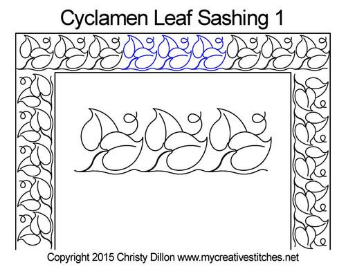 Cyclamen leaf sashing 1 quilt pattern