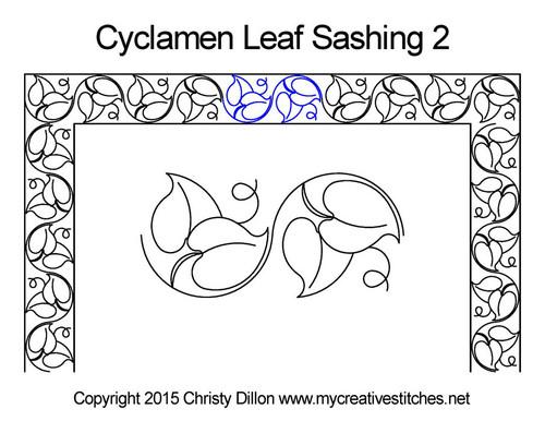Cyclamen leaf sashing 2 quilt pattern