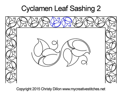 Cyclamen leaf sashing 2 quilt pattern