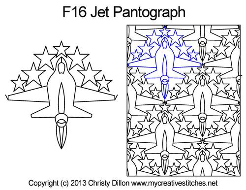 F16 jet long arm quilting pantographs