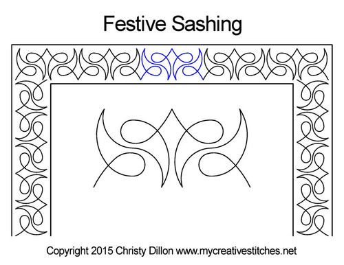 Festive sashing digitized quilt pattern