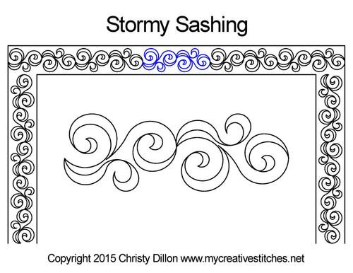 Stormy sashing quilting pattern