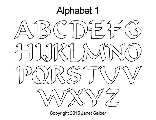 Digital alphabet 1 quilting design