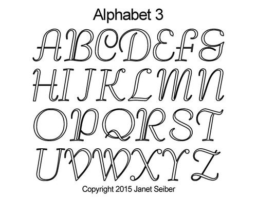 Computerized alphabet 3 quilting pattern