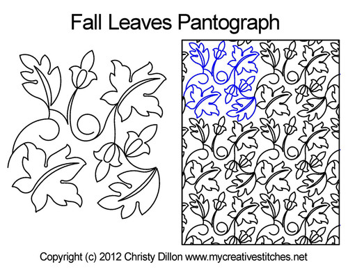 Fall leaves digitized quilt pantograph