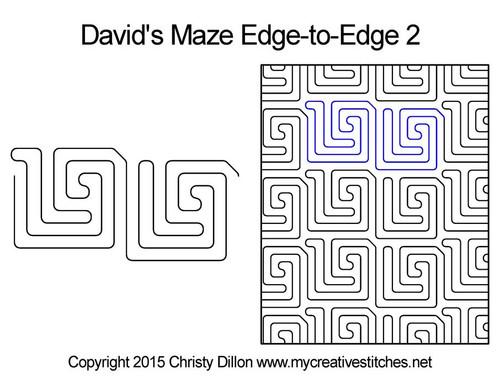 David's maze edge to edge 2 longarm quilting patterns