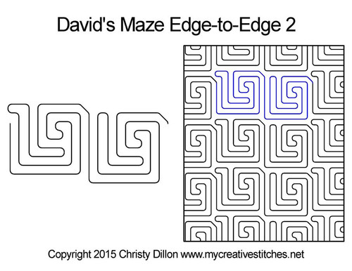 David's maze edge to edge 2 longarm quilting patterns